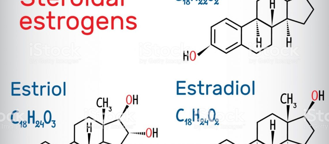 Chemical formulas of steroidal estrogens: estradiol, estriol, estrone. Vector illustration